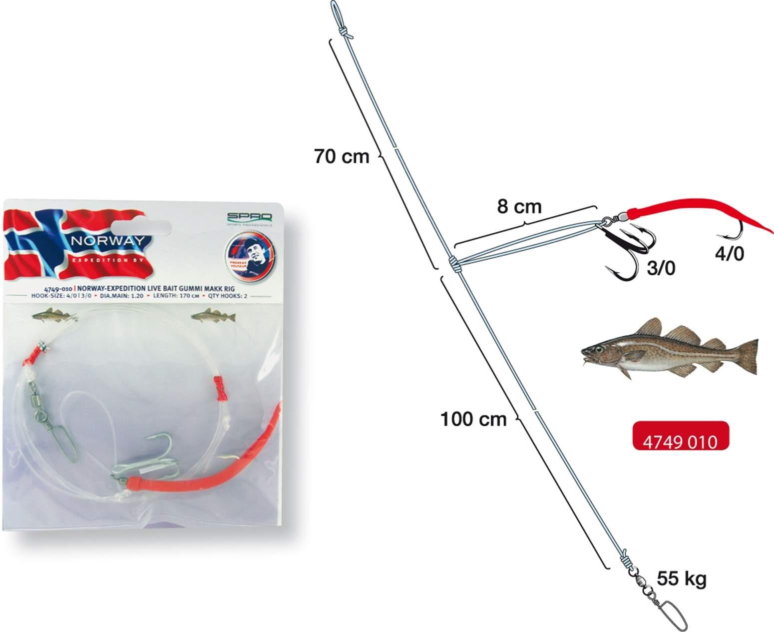 Оснастка Для Норвегии Spro Norway Exp LiveBaitRig/Gummi Makk 4/0;3/0 1mm 253.5cm
