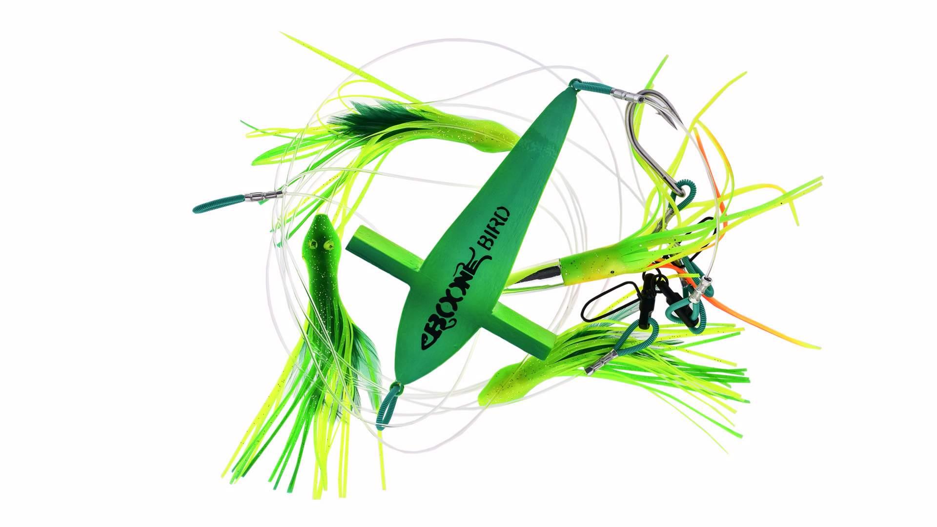 Набор тролинговый Летучая рыба и 4 приманки Boone Mahi Jet green